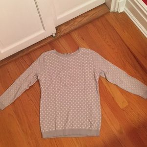 Loft grey sweater with white polka dots